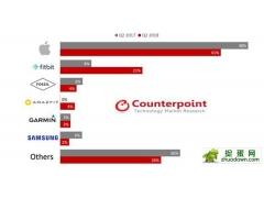 华米科技旗下的AMAZFIT品牌,在该季度一举跻身全球智能手表销量